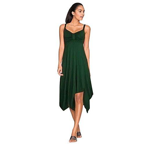 ess Midi Dress for Women Pleated Irregular Hem Shoulder Strap Floral Dresses for Women ()