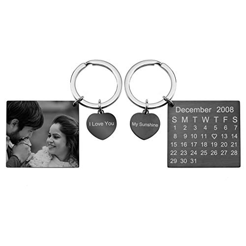 Zysta Personalized Engraved Calendar Keychain Stainless Steel Photo Custom Keyring Keepsake