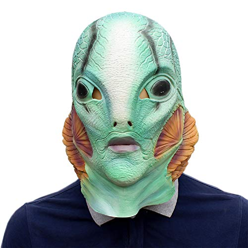 Weman Scary Costumes - Halloween Green Latex Weman Mask