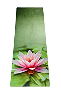 Yoga mat Pink water lily+ strap/ natural rubber + microfiber / ECO Friendly / Printed Design Yoga Mats / Free from latex, silicone, toxic glue / Best For Hot Yoga Mat, Exercise Mat, Gym Mats