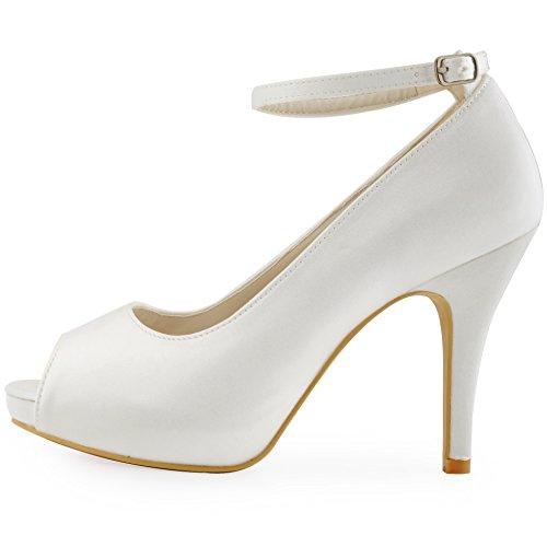 ElegantPark HP1543I Mujer Tacón De Aguja Plataforma Peep Toe Correa De Tobillo Satén Zapatos De Boda Ivoire