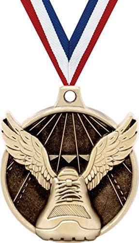 winged shoe bronze medal track with black neck ribbon trophy award