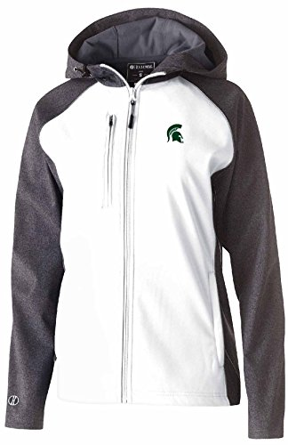 Ouray Sportswear NCAA Michigan State Spartans Adult Women Holloway W Raider Soft Shell Jacket, Large, Carbon Print/White