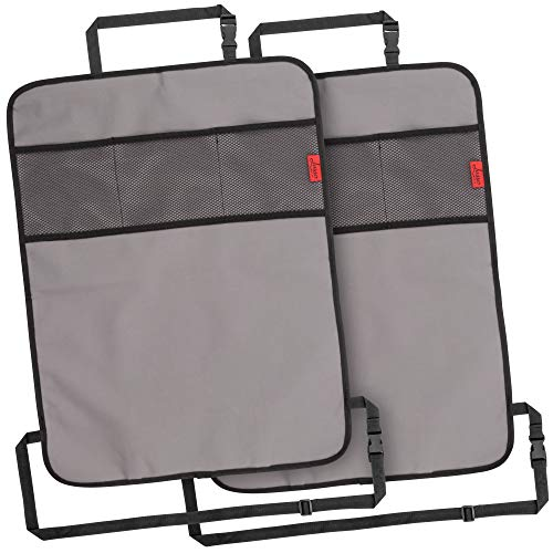 For Sale! Heavy Duty Kick Mats Back Seat Protector (2 Pack) – The Sag Proof, Waterproof, Odor Proof Car Back Seat Cover for Kids Who Make Big Messes | 3 Reinforced Mesh Storage Pockets, Premium Oxford Fabric
