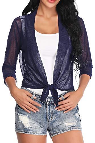 Aranmei Womens Sheer Shrug Cardigan Tie Front 3/4 Sleeve Bolero Jacket(Navy Blue, X-Large)