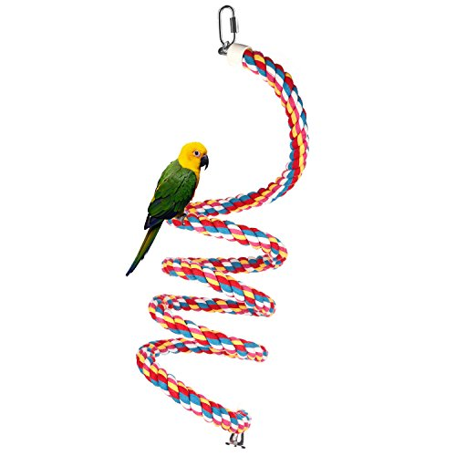 Bungee Toy (Bird Toys, Natural Cotton Parrot Toys, 94 inch Long Parrot Bungees Rope Toys, Bvanki Large, Medium and Small Parrot Toys Spiral Standing Toys (large))