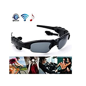 Drhob Brand New Universal Wireless Sunglasses Bluetooth Stereo Headset Hands-Free Phone (Frame and Hardware color: Black &Lens Color: Gray)