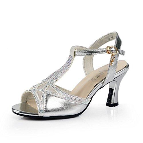 Onecolor Blando de Fondo Adulta Zapatos Sandalias Sandalias BYLE Latino Samba la Verano Jazz con Baile de Cuero Plata Zapatos de Tobillo Mujer Baile de Modern RSHqRPw