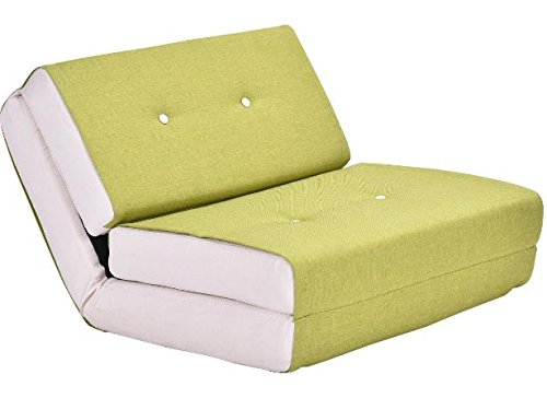 K&A Company Down Convertible Sleeper Bed Couch Dorm Fold Chair Flip Lounger New Sofa Game Us Futon Suede Green