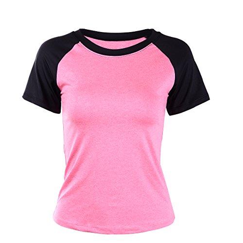 EUFANCE las Mujeres el Rendimiento deportivo de los Deportes camiseta Activa de Manga Corta de Yoga Superior de la Camiseta de la Blusa Rosa