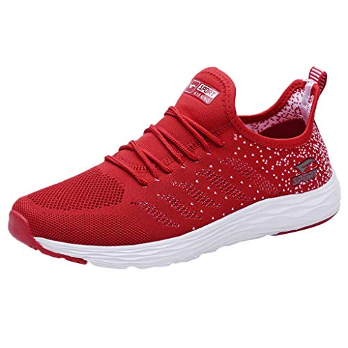 JUSTWIN Men Mesh Sneakers Bottom Flying Woven Sports Breathable Running Shoes Sneakers Red