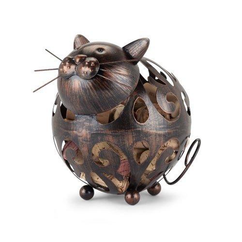 Decorative Wine Cork Holder, Whiskers Cat Metal Rustic Animal Cork Holder