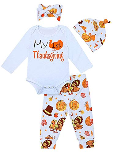 My First Thanksgiving Outfit Newborn Baby Girl Long Sleeve Romper Tops+ Pants + Hat + Headband Clothes Set 4Pcs White