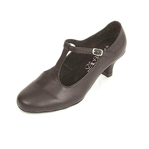 Dimichi Womens Lederen Binnenzool Van Leder T-strap Ballroomschoenen, Zwart, 7 M Us