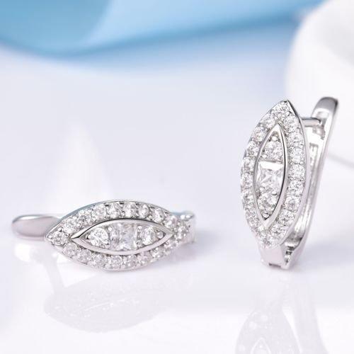 (Gozebra(TM) Vogue 18K White Gold Filled Topaz Crystal Gemstone Hoop Snap Closure Earrings)