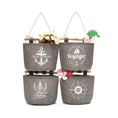 Leoyoubei Wall-Mounted Storage Basket Hanging Bag, Waterproof Cotton Linen Flower Pot Small Sack, Wall-Mounted/Door Magazine Storage Bag Hanging Organizers 4 Pack Gray