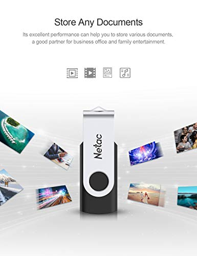 Netac 128GB USB Flash Drive 3.0 128GB Memory Stick Thumb Drive Jump Drive Speed up to 90MB/s, Flash Drive with Rotated Design - U505