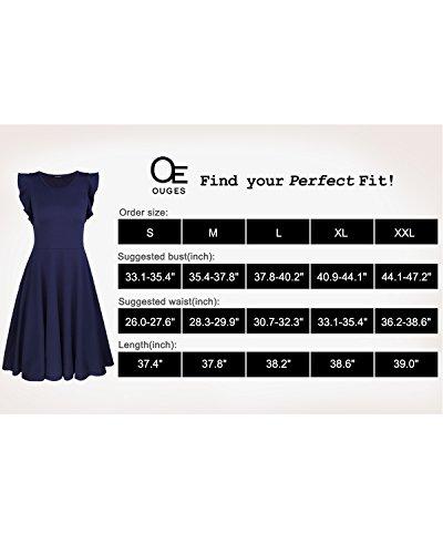 Ruffles Dress Navy Sleeve Casual Flare Cotton OUGES Women's Cap gqO44z