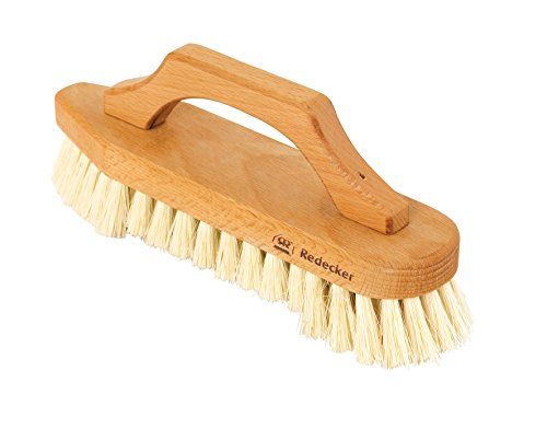 REDECKER Tampico Fiber Scrub Brush with Oiled Beechwood Bow-Shaped Handle, 8-5/8-Inches