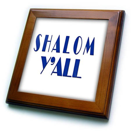 3dRose Shalom You All. Hello in Yiddish Framed Tile, 8 x 8