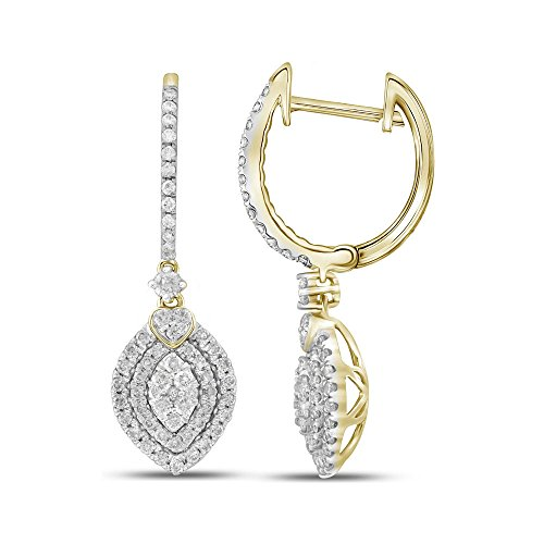 Roy Rose Jewelry 14K Yellow Gold Womens Round Diamond Double Oval Frame Dangle Earrings 1-Carat tw