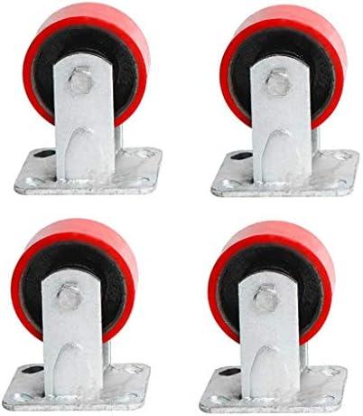 4インチレッドサイレントスーパーヘビーデューティーキャスターウェアラブルブレーキユニバーサルキャスター(4パック)