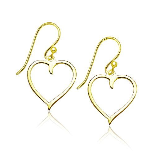 (Big Apple Hoops - Genuine 925 Sterling Silver Lightweight Heart Dangle Earrings Yellow Gold Flashed Finish)