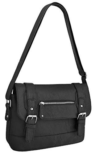 Satchel Ladies Leather Starling Shoulder Messenger Starling Faux Bag Black Ladies xIIXwv