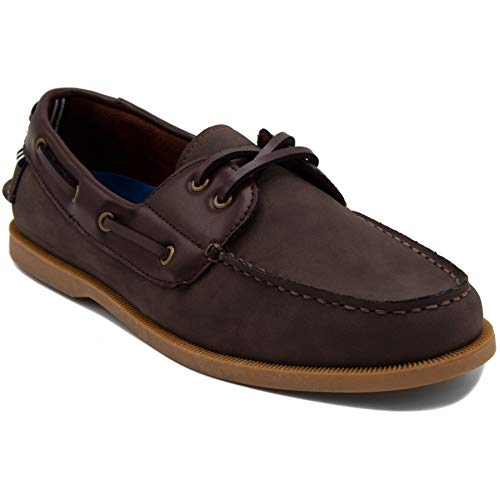 Mako Boat Shoes - Nautica Men's Nueltin Casual Boat Shoe Loafer 2 Eye Lace Moccasins-NUELTIN 2-Brown-7.5