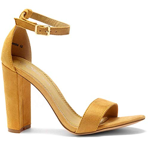 - Herstyle Rosemmina Womens Open Toe Ankle Strap Chunky Block High Heel Dress Party Pump Sandals Mustard 5.0