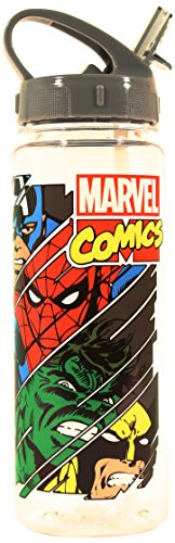 Silver Buffalo MV8464 Marvel Characters Slashed BPA-Free Tritan Water Bottle, 20 oz., Gray
