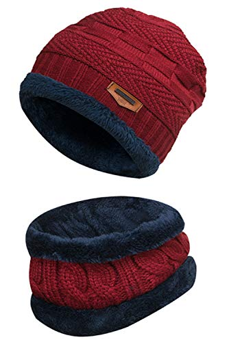 2-Pieces Winter Beanie Hat Scarf Set Warm Knit Hat Thick Fleece Lined Winter Hat & Scarf for Men Women Red (Name Of The Hat In Harry Potter)
