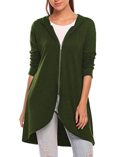 Zeagoo Women's Long Zip Up Hoodie Light Oversized Thin Tunic Hooded Sweatshirt Jacket with Pockets