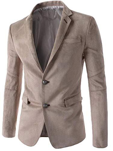 Generic Men's Slim Fit Jacket Two Button Suede Coat Business Lapel Blazer Beige S