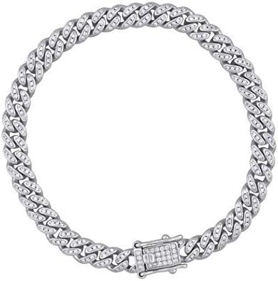 925 argent Sterling hommes CZ zircone cubique simulé diamant Miami gourmette lien Bracelet 65mm 8 pouces bijoux cadeaux pour hommes