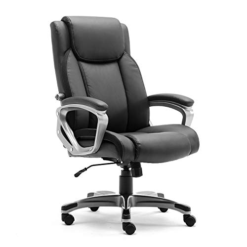 CANMOV Ergonomic High Back Leather Office Chair, Thick Padding Computer Desk Chair with 90°- 110° Tilt Lock and Adjustable Lumbar Support, Black (Chair Tilt Lock)