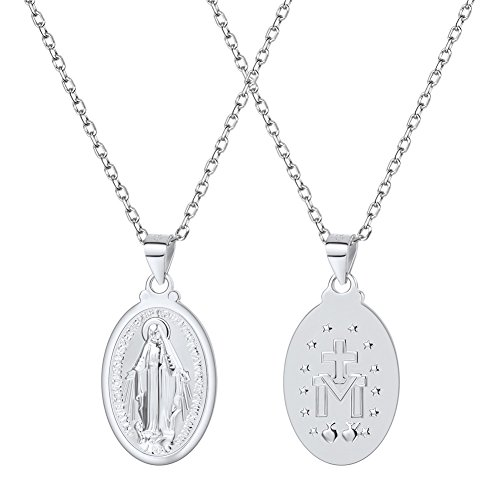 U7 Virgin Mary Necklace 18K Gold Plated Women/Men Christian Jewelry Cross St Benedict Medal Pendant Necklace (925 Sterling Silver)