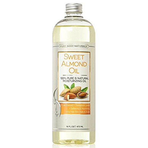 Pure Body Naturals Cold Pressed Sweet Almond Oil for Skin, Hair, and Carrier for Essential Oils - 16 Fl. (Almond Sweet Pure Carrier Oil)