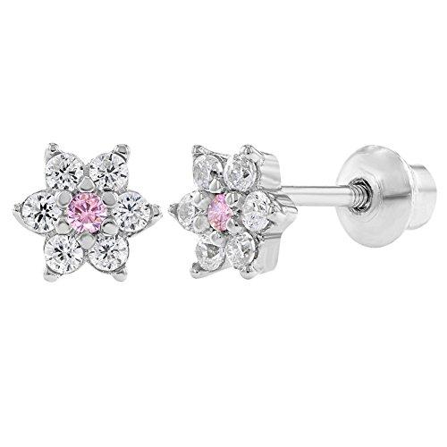 d040b583e816 In Season Jewelry - 925 Plata de Ley Flor Circonita Rosa y Clara Aretes con  Cierre