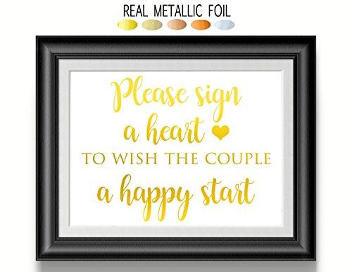 Heart Drop Wedding Guest Book Signage - Gold Foil Print - Please Sign A Heart Sign, Wedding Sign, Alternative Guest Book Sign, Wooden Heart ()