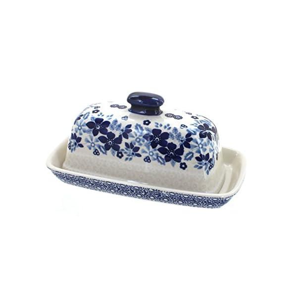 Blue Rose Polish Pottery Elizabeth Butter Dish