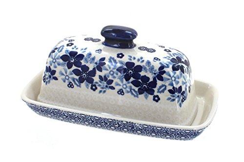 Blue Rose Polish Pottery Elizabeth Butter Dish (Blue Rose Pottery Butter Dish)