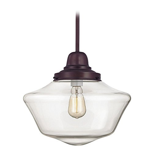 14-Inch Clear Glass Schoolhouse Hanging Pendant Light in Bronze Finish