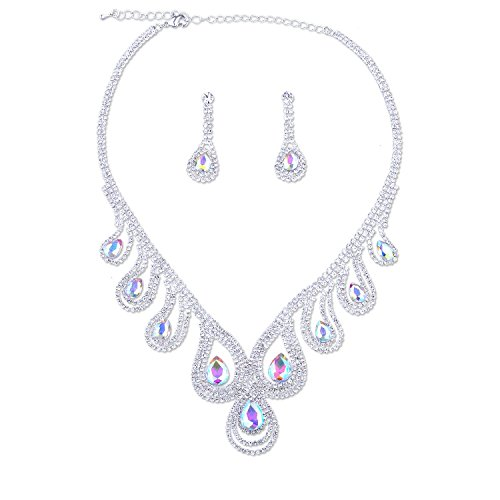 Silver Crystal Rhinestone Aurora Borealis Teardrop Necklace Dangle Earrings Jewelry Set