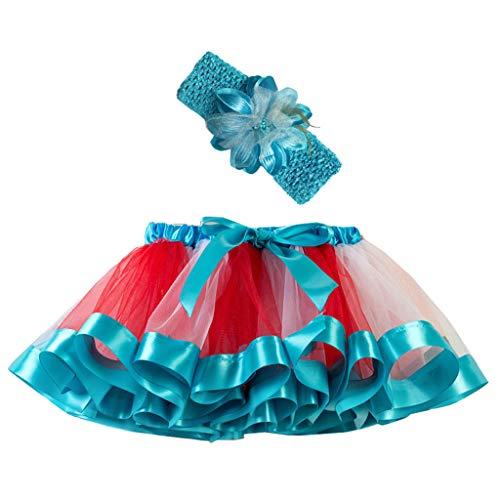 Sunhusing Children Girls Rainbow Tutu Skirt + Hair Strap Two-Piece Set Toddler Party Dance Ballet Costume Skirt