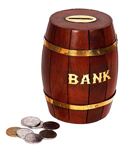 (W Weblytech Decorative Antique Hand Crafted Barrel Shape Wooden Money Bank Safe Piggy Bank Coin Box for Girls &)