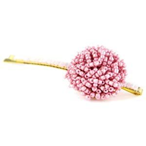 Elegant Bead Button Top Hair Pin - Hairpin Clip Bridal Wedding Prom - Cotton Candy Pink