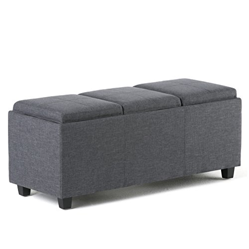 Simpli Home Avalon Rectangular Storage Ottoman with 3 Serving Trays, Slate Grey by Simpli Home
