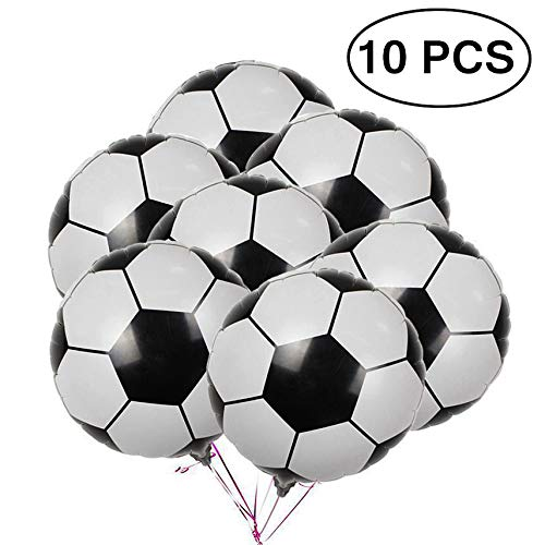 - 10Pcs Soccer Balloons Football Aluminum Foil Metallic Mylar Balloon Decoration for Birthday Party World Cup Party 18 Inch