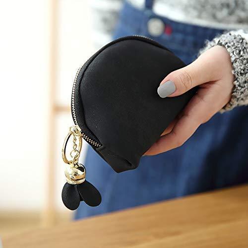 Paquete Monedero Tarjeta Moneda Femenino color Coreano Lindo De Cuadrada Embrague Del Hermana Suave Negro Sobre Mini Pequeño Pequeña Black Fresca Bolso Bolsa w7OqYBFx